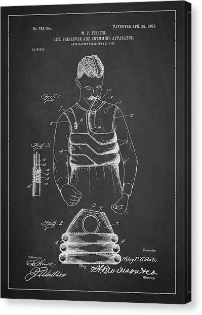 Flipper Canvas Print - Life Preserver And Swimming Apparatus Patent Drawing From 1903 by Aged Pixel