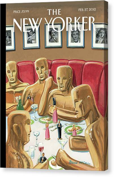 Life Sized Oscar Awards At A Dinner Canvas Print by Bruce McCall