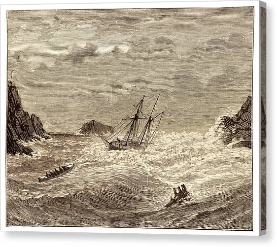 Drown Canvas Print - Lifeboat Approaching A Wreck by David Parker/science Photo Library
