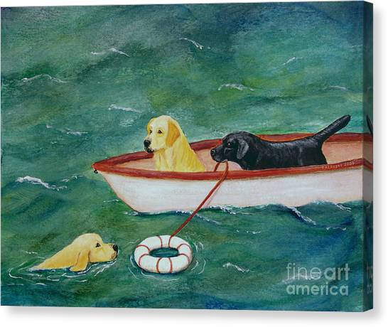 Lifeboat Labrador Dogs To The Rescue Canvas Print