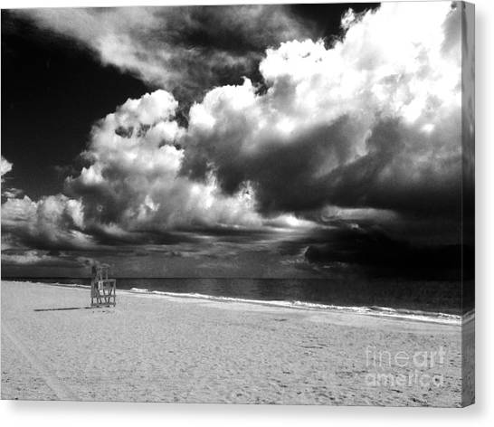 Lifeguard Chair Clouds Canvas Print