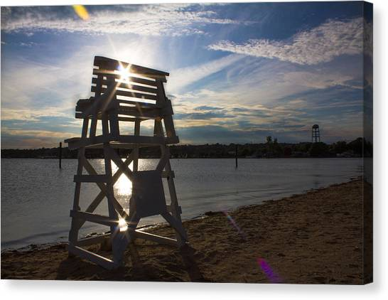 Lifeguard Stand Silhouette  Canvas Print