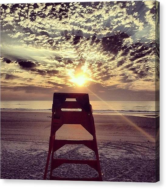 Lifeguard Canvas Print - #lifeguard #sunrise #beach #oceanstlye by Tony Sinisgalli