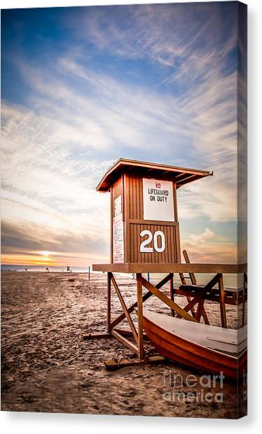 Lifeguard Canvas Print - Lifeguard Tower 20 Newport Beach Ca Picture by Paul Velgos