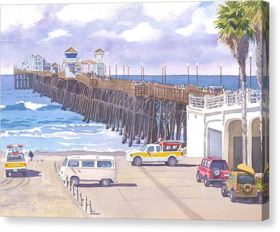 Lifeguard Canvas Print - Lifeguard Trucks At Oceanside Pier by Mary Helmreich