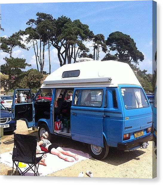 Vw Bus Canvas Print - Life's A Beach #camper #vw #vwcamper by Ash Hughes