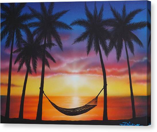 Palm Trees Sunsets Canvas Print - Life's A Beach by Darren Robinson