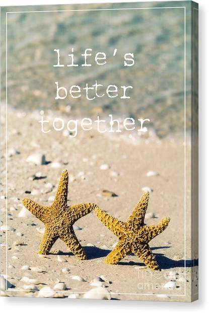 Beach Resort Canvas Print - Life's Better Together by Edward Fielding