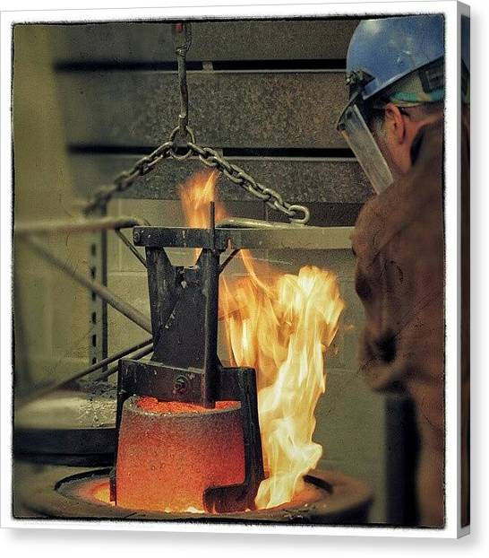 Flames Canvas Print - Lifting The Crucible From The Furnace~ by Chris T Darling