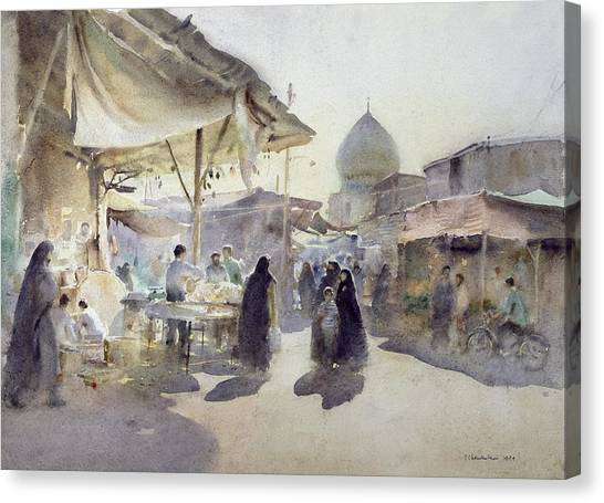 Iranian Canvas Print - Light And Shade, Shiraz Bazaar, 1994 Wc On Paper by Trevor Chamberlain