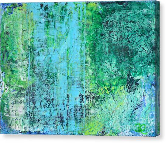 Light Blue Green Abstract Explore By Chakramoon Canvas Print by Belinda Capol
