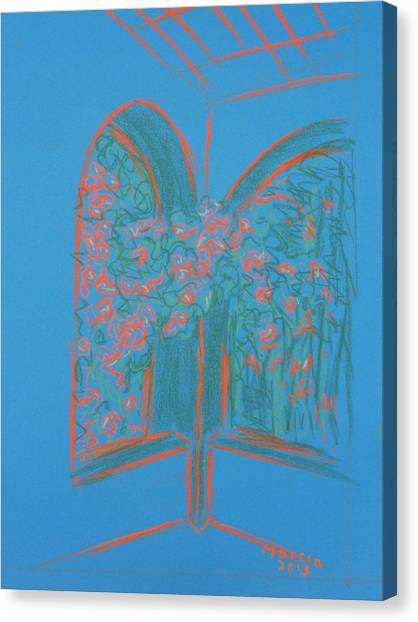 Light Blue Patio Canvas Print by Marcia Meade