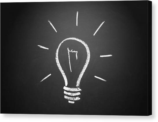 Light Bulb On A Chalkboard Canvas Print