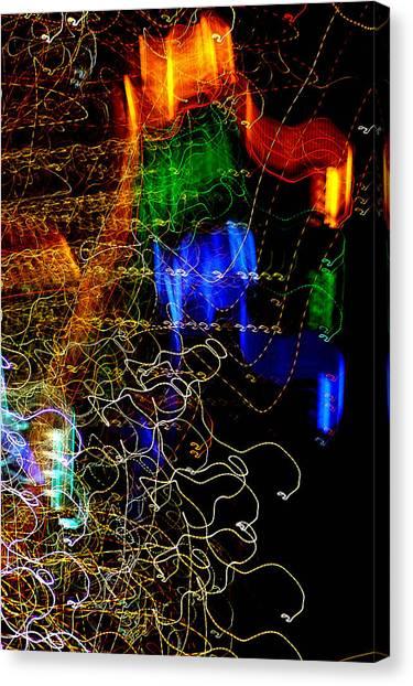 Light Graffitti Resembling Sea Horses Canvas Print