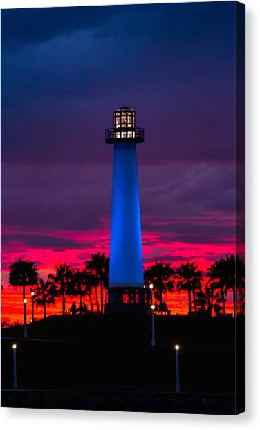 Light House In The Firey Sky Canvas Print
