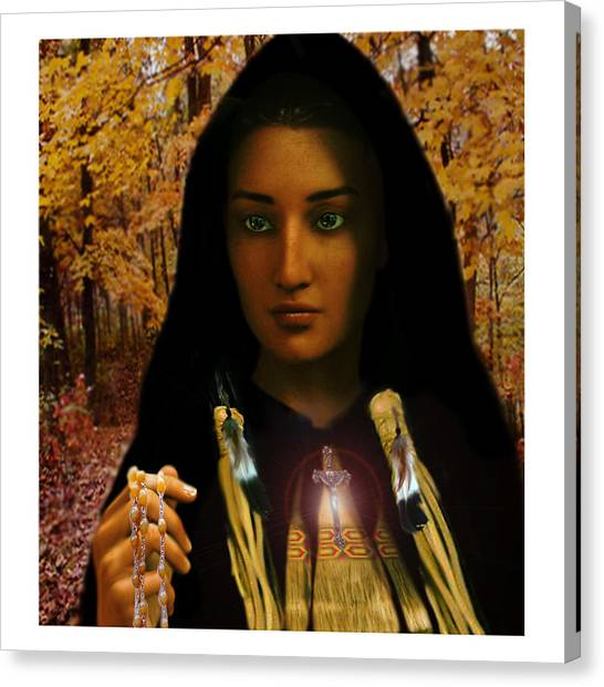Saint Kateri Tekakwitha Light In The Darkness Canvas Print