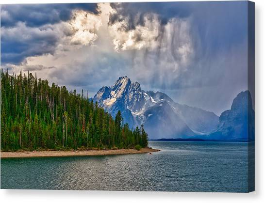 Canvas Print featuring the photograph Light On Moran by Greg Norrell