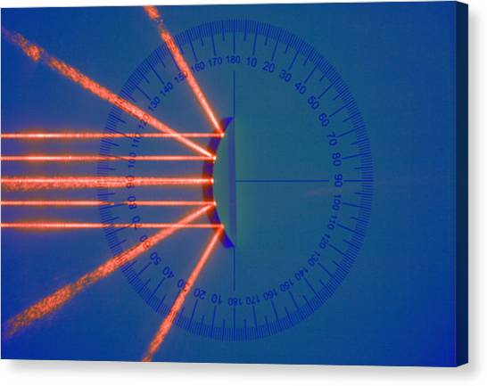 Protractors Canvas Print - Light Rays And Convex Mirror by Science Stock Photography