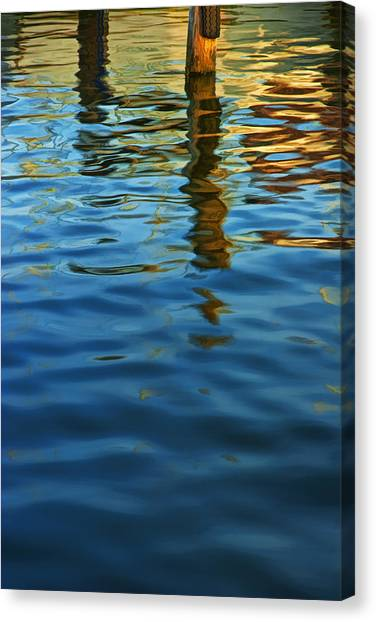 Light Reflections On The Water By A Dock At Aransas Pass Canvas Print
