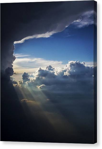 Light Shafts From Thunderstorm II Canvas Print
