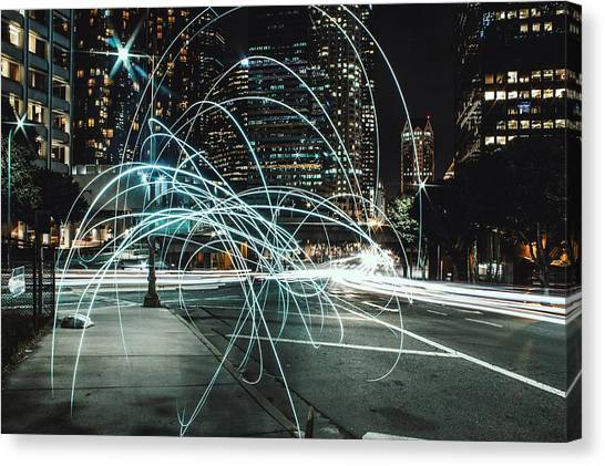 Light Trails On City Road At Night Canvas Print by Kevin Martinez / Eyeem