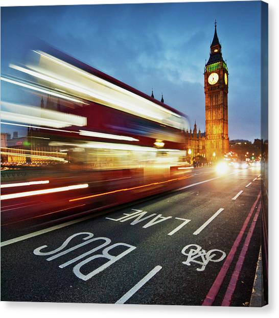 Light Trails On Westminster Bridge With Canvas Print by Ricardolr