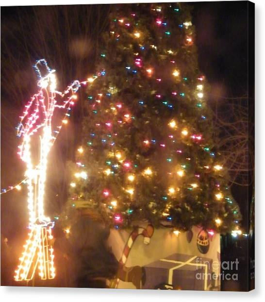 Lighted Decorating Of Tree Canvas Print