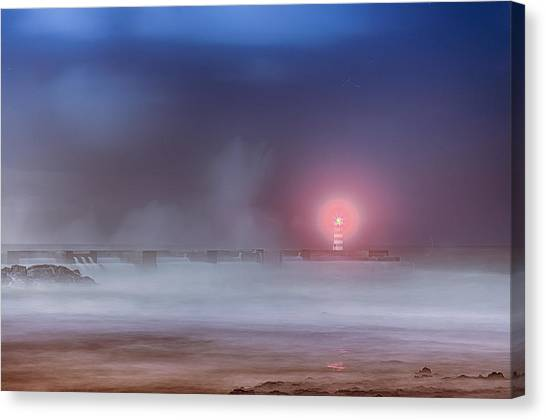 Lighthouse And Big Waves Canvas Print