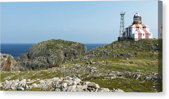 Newfoundland And Labrador Canvas Print - Lighthouse And Building by Keith Levit