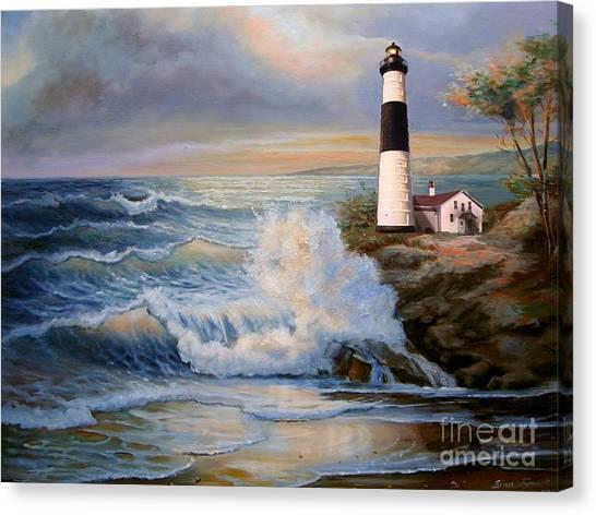 Gina Femrite Canvas Print - Big Sable Point Lighthouse With Crashing Waves  by Regina Femrite