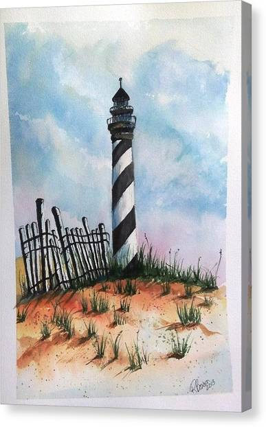 Lighthouse And Fence Canvas Print