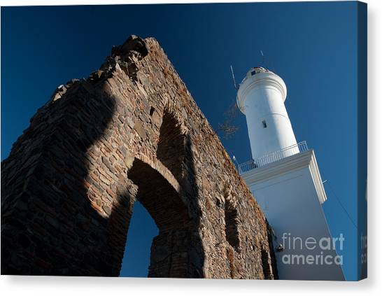 Lighthouse And Ruin Of The Convento De San Fransisco In Colonia - Uruguay Canvas Print by OUAP Photography