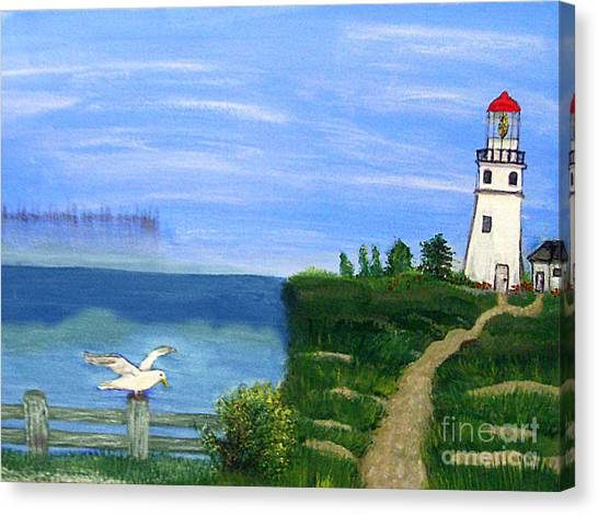 Lighthouse And Seagull 2 Canvas Print