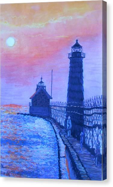 Colorplay Canvas Print - Lighthouse At Dusk by Martha Cervantes