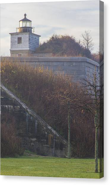 Lighthouse At Fort Rodman Canvas Print