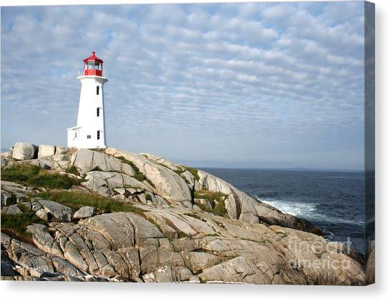 Lighthouse At Peggys Point Nova Scotia Canvas Print