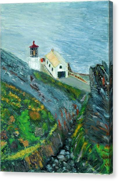 Lighthouse At Point Reyes California Canvas Print