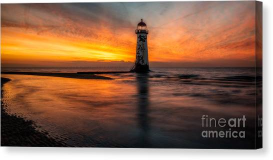 Wind Farms Canvas Print - Lighthouse At Sunset by Adrian Evans