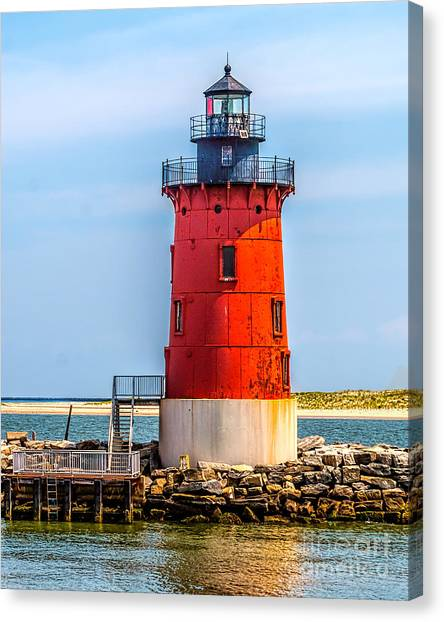 Lighthouse At The Delaware Breakwater Canvas Print