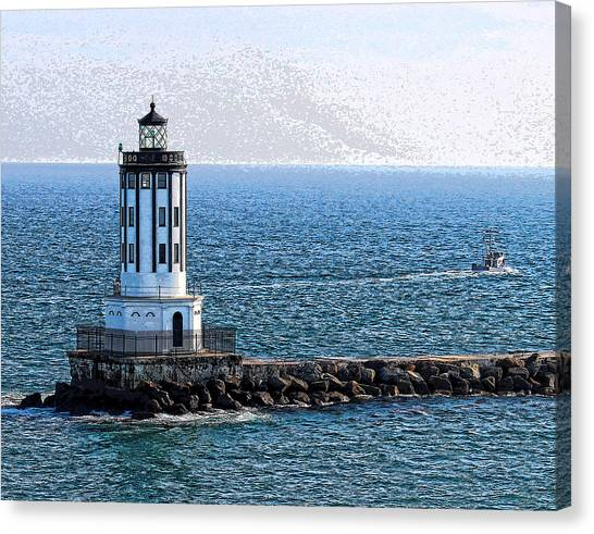 Lighthouse At The Port Of Los Angeles Canvas Print