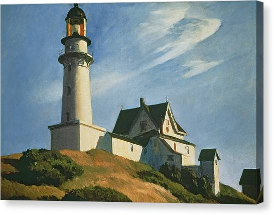 Coast Guard Canvas Print - Lighthouse At Two Lights by Edward Hopper