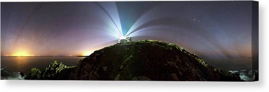 Night Cap Canvas Print - Lighthouse Beams At Night by Laurent Laveder