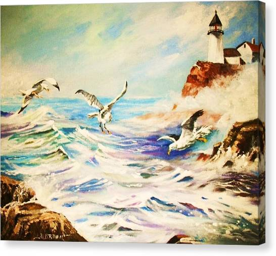 Lighthouse Gulls And Waves Canvas Print