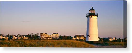 Marthas Vineyard Canvas Print - Lighthouse In A Town, Edgartown by Panoramic Images