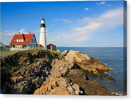Lighthouse In The Sun Canvas Print