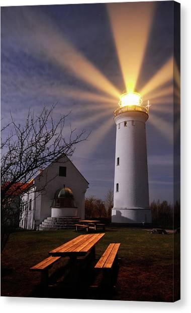 Bench Canvas Print - Lighthouse by Keller