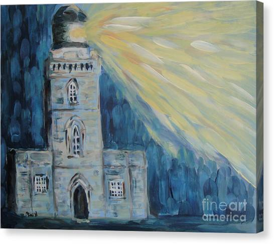 Canvas Print featuring the painting Lighthouse by Maria Langgle