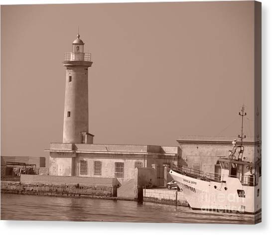 Lighthouse Marsala Canvas Print