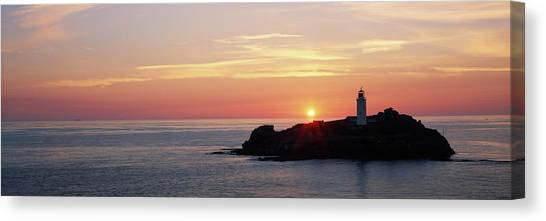 St Ives Canvas Print - Lighthouse On An Island In Atlantic by Panoramic Images