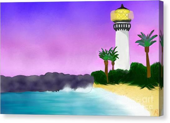 Lighthouse On Beach Canvas Print